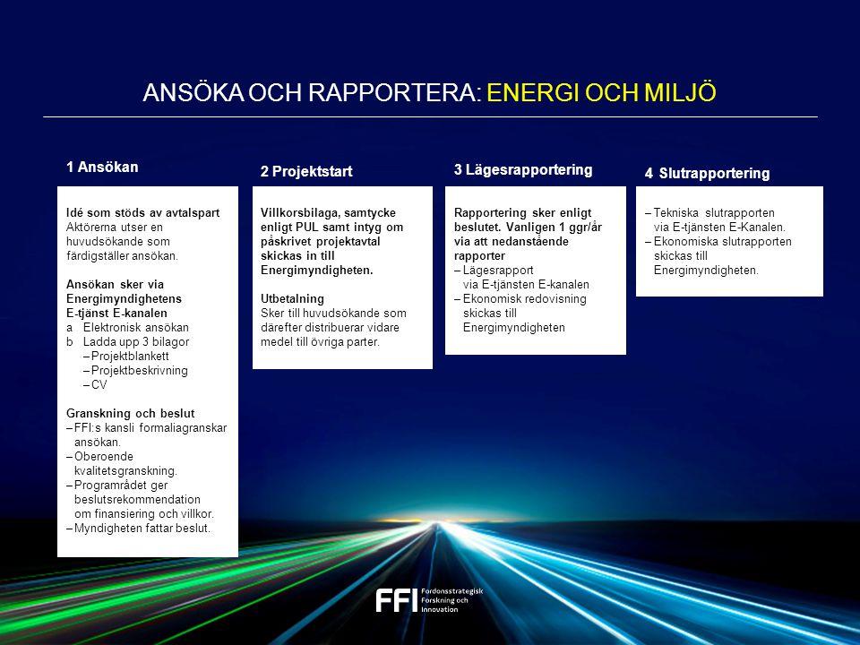 Ansöka och Rapportera: ENERGI OCH MILJÖ