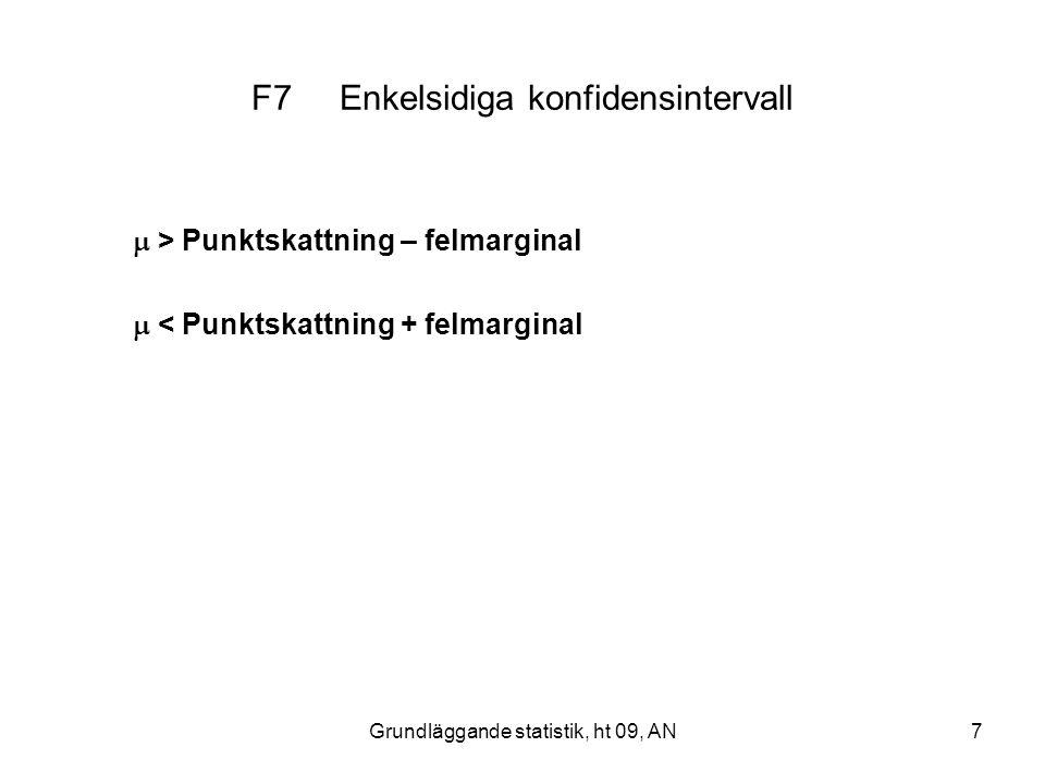 F7 Enkelsidiga konfidensintervall