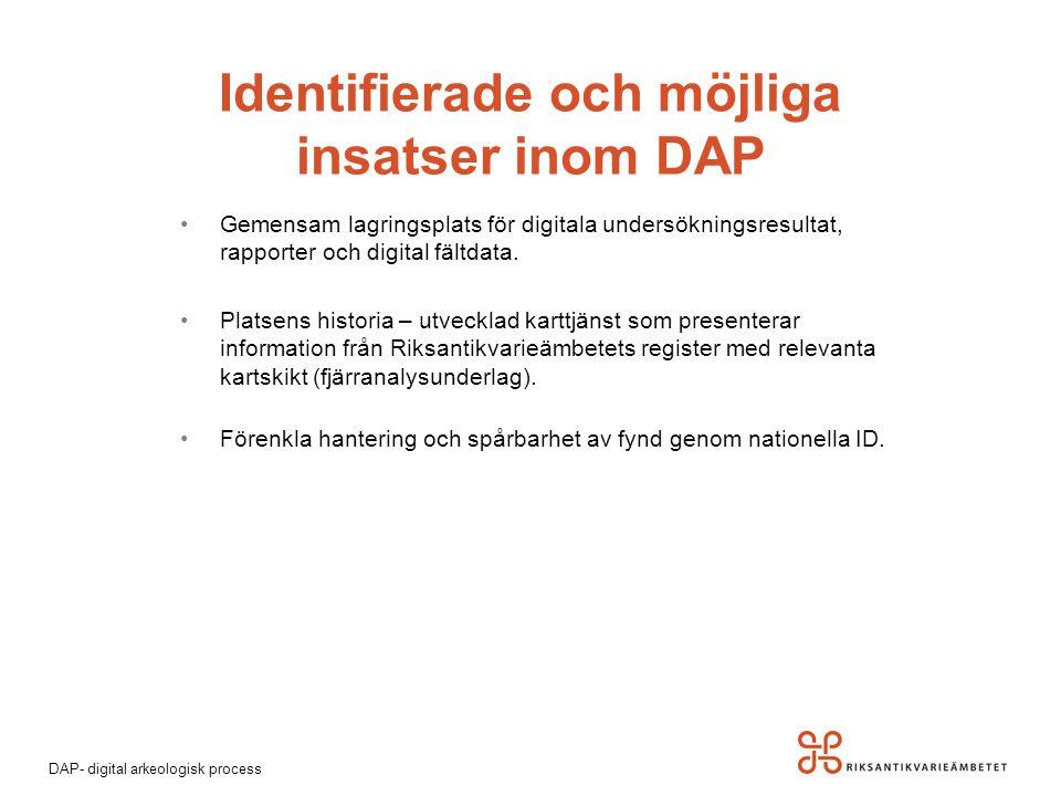 Identifierade och möjliga insatser inom DAP