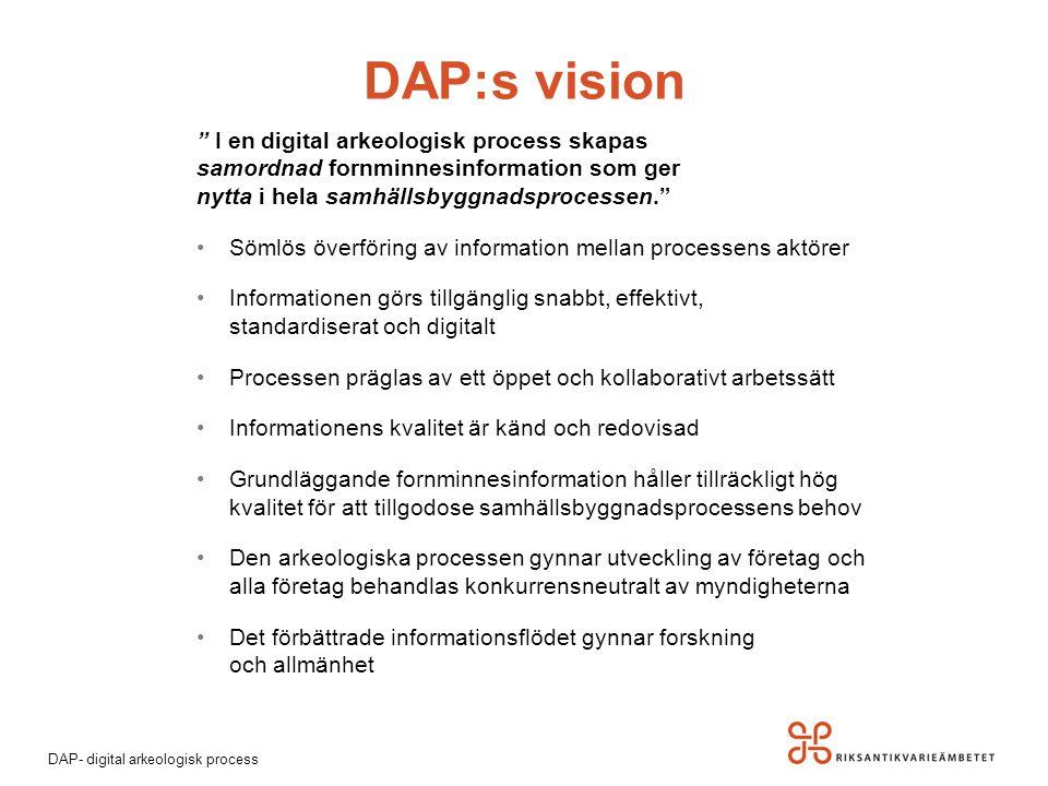 DAP:s vision I en digital arkeologisk process skapas samordnad fornminnesinformation som ger nytta i hela samhällsbyggnadsprocessen.