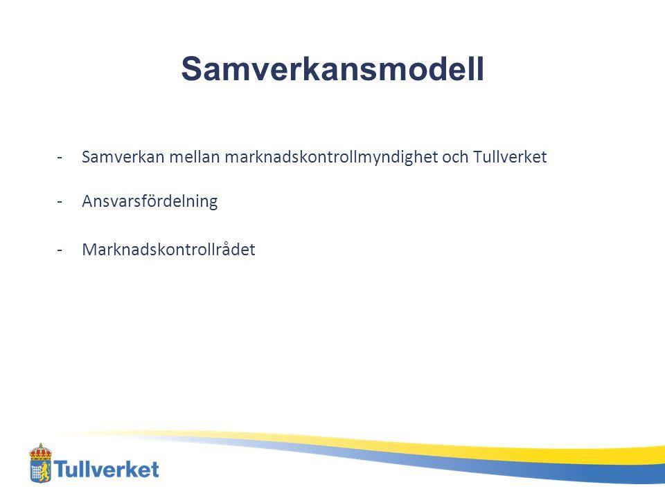 Samverkansmodell Samverkan mellan marknadskontrollmyndighet och Tullverket.