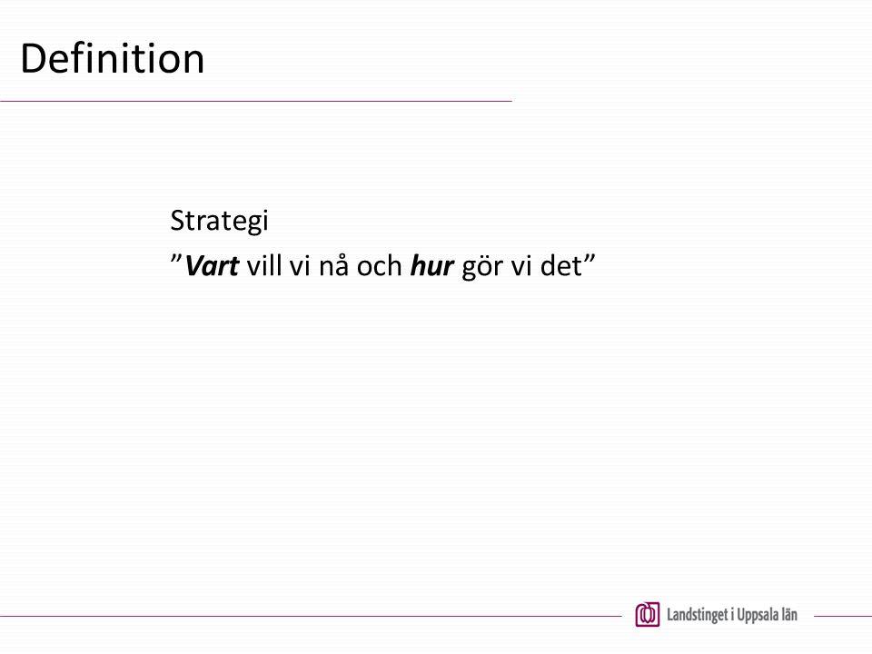 Definition Strategi Vart vill vi nå och hur gör vi det