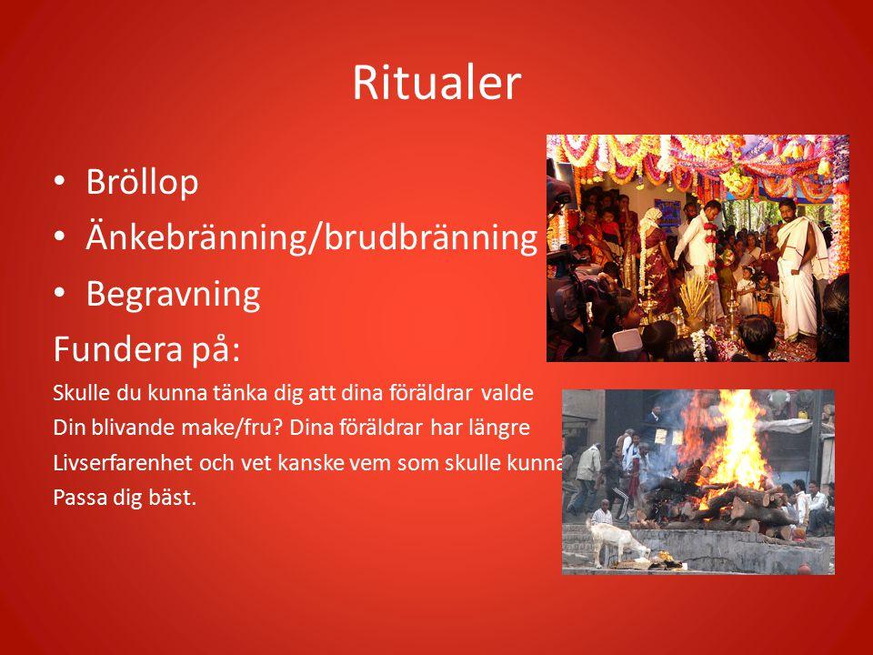 Ritualer Bröllop Änkebränning/brudbränning Begravning Fundera på: