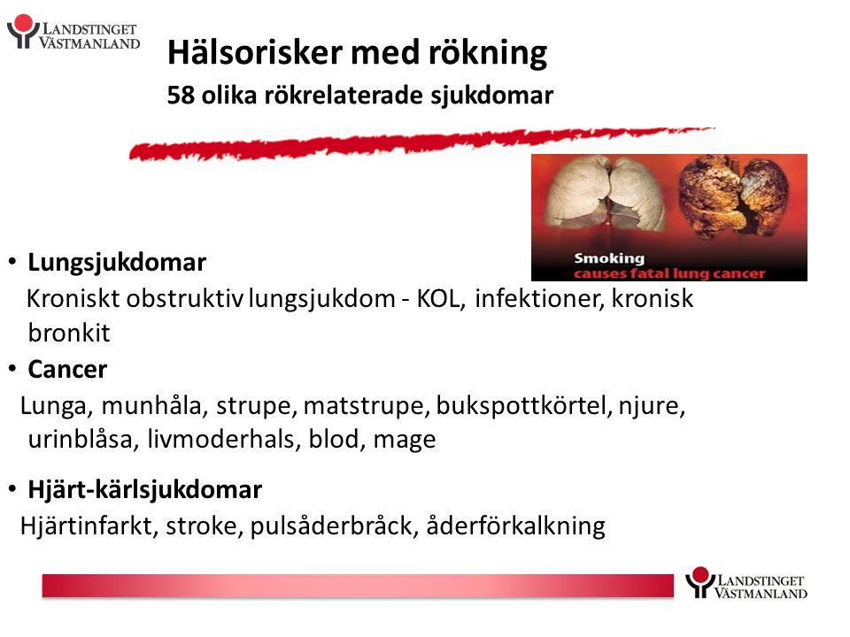 Hälsorisker med rökning 58 olika rökrelaterade sjukdomar