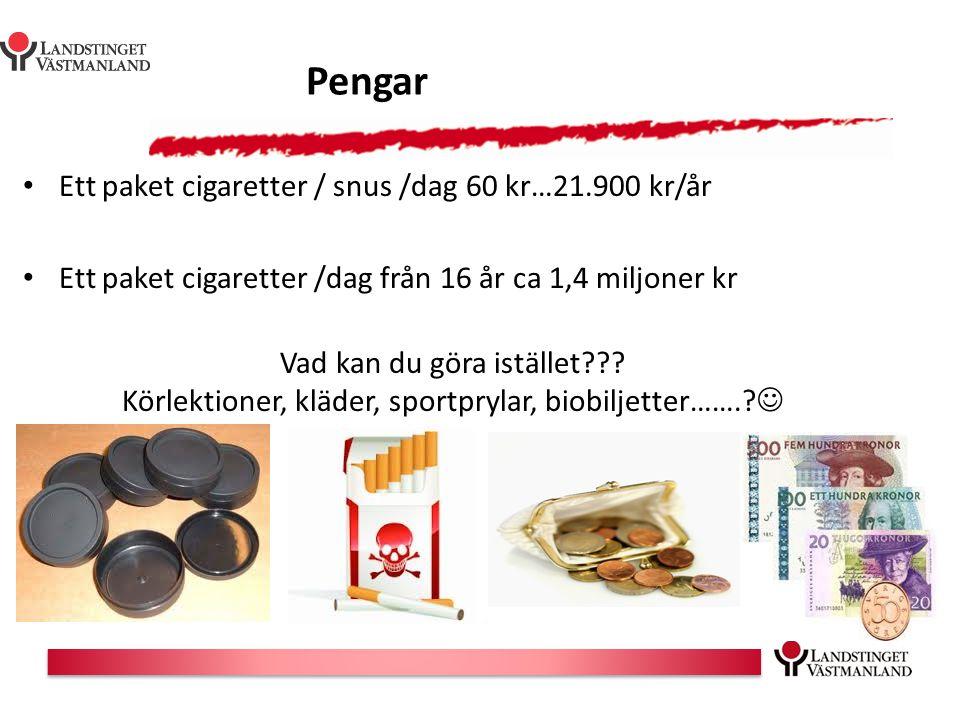 Pengar Ett paket cigaretter / snus /dag 60 kr…21.900 kr/år
