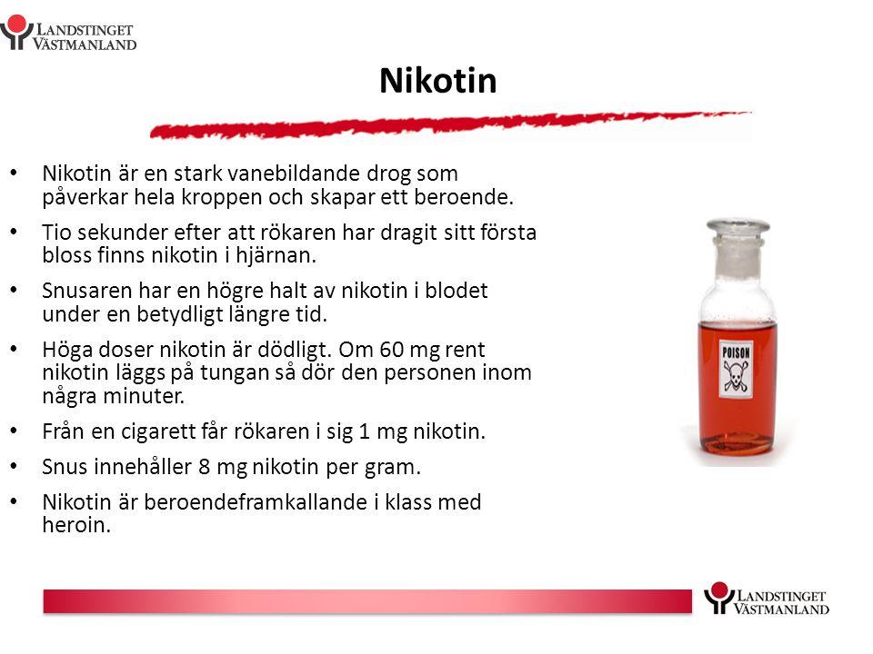Nikotin Nikotin är en stark vanebildande drog som påverkar hela kroppen och skapar ett beroende.