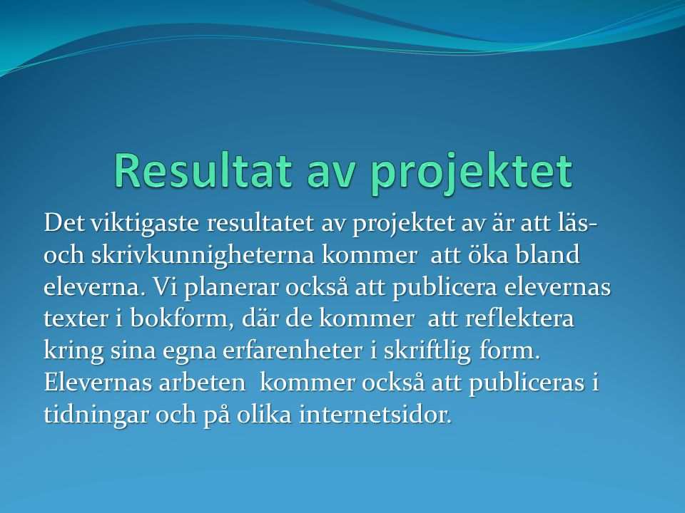 Resultat av projektet