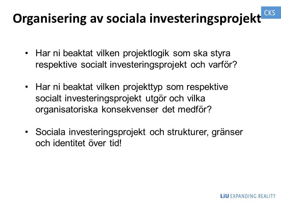 Organisering av sociala investeringsprojekt