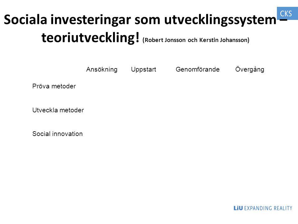 Sociala investeringar som utvecklingssystem – teoriutveckling