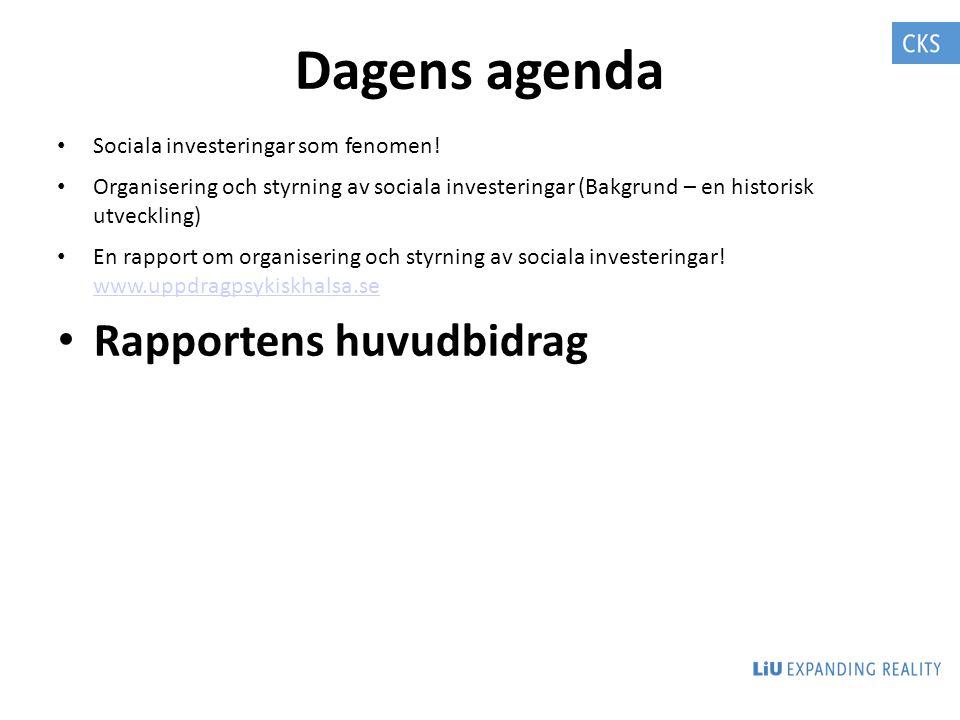 Dagens agenda Rapportens huvudbidrag