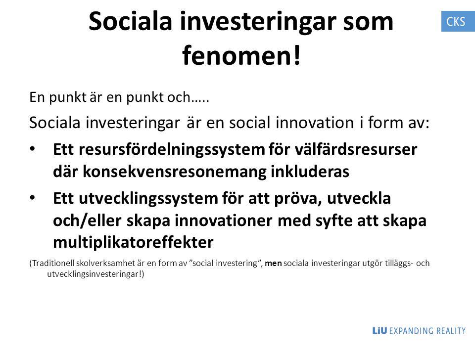 Sociala investeringar som fenomen!