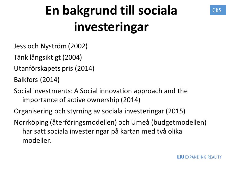 En bakgrund till sociala investeringar