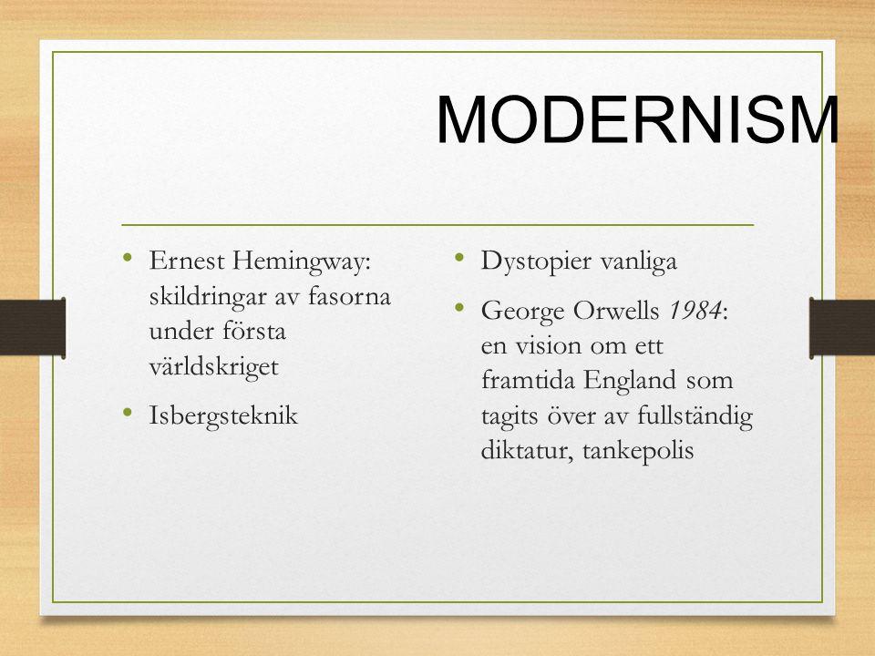 MODERNISM Ernest Hemingway: skildringar av fasorna under första världskriget. Isbergsteknik. Dystopier vanliga.