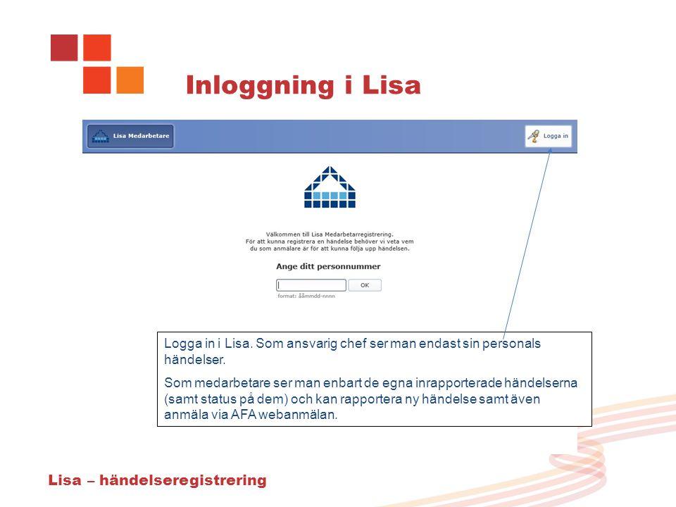 Inloggning i Lisa Lisa – händelseregistrering