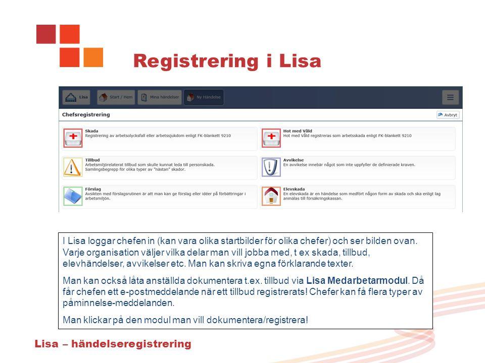 Registrering i Lisa Lisa – händelseregistrering