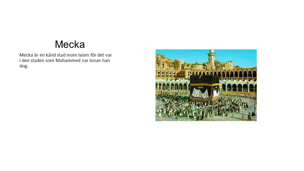 Mecka Mecka är en känd stad inom Islam för det var i den staden som Muhammed var innan han dog.