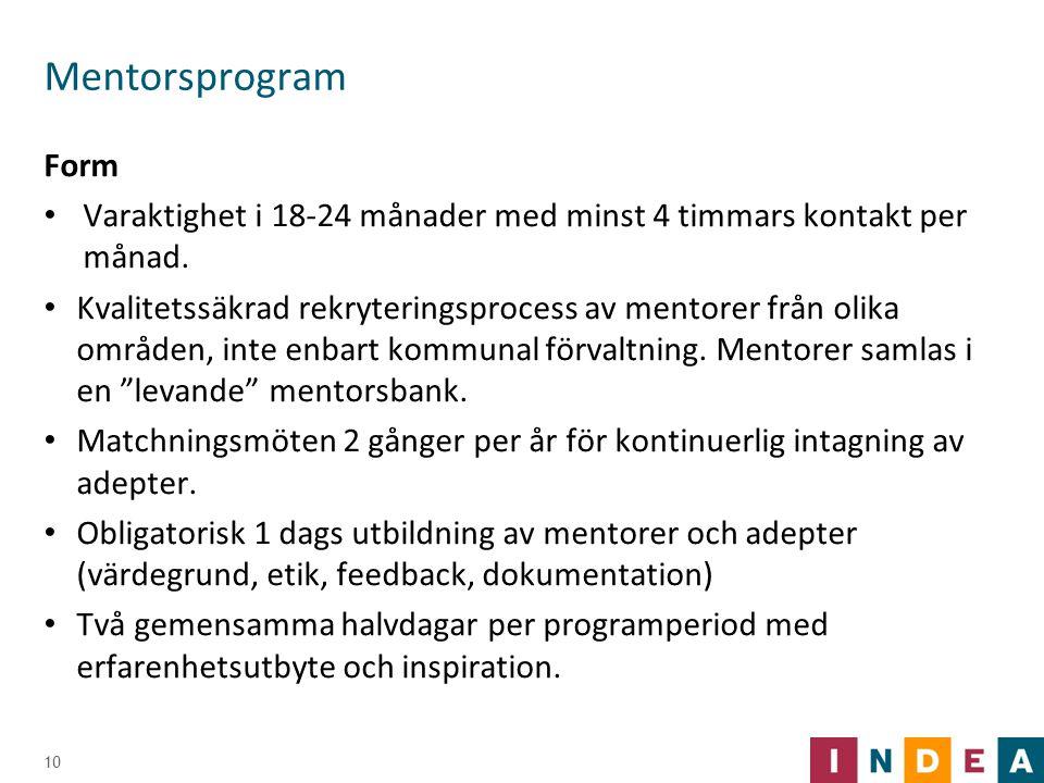 Mentorsprogram Form. Varaktighet i 18-24 månader med minst 4 timmars kontakt per månad.