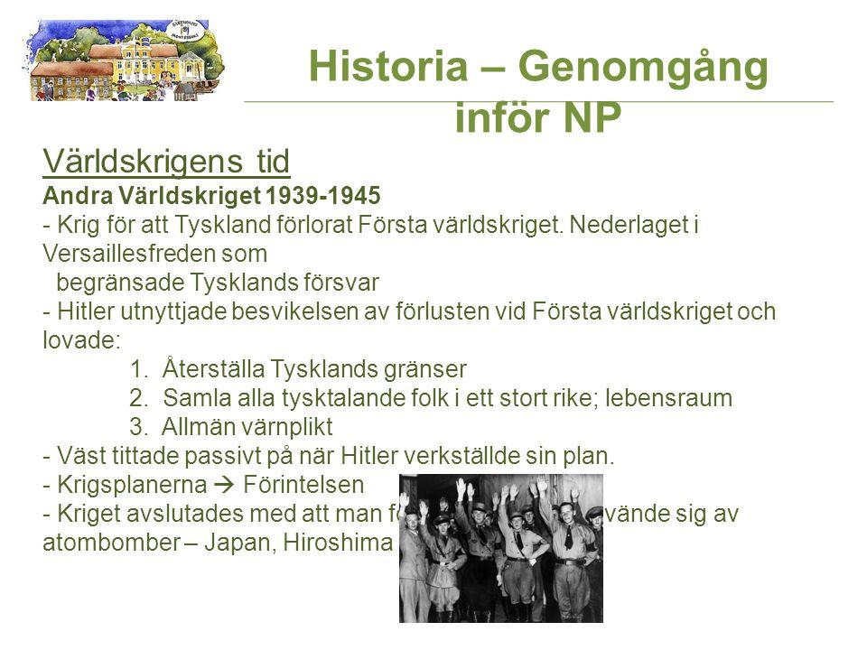 Historia – Genomgång inför NP