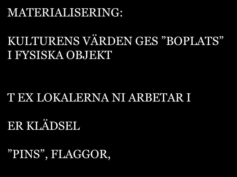 MATERIALISERING: KULTURENS VÄRDEN GES BOPLATS I FYSISKA OBJEKT. T EX LOKALERNA NI ARBETAR I. ER KLÄDSEL.