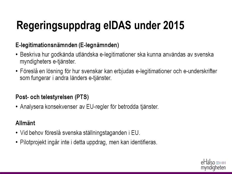 Regeringsuppdrag eIDAS under 2015