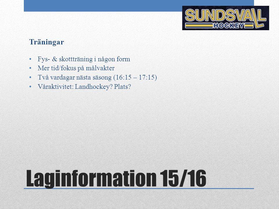 Laginformation 15/16 Träningar Fys- & skottträning i någon form