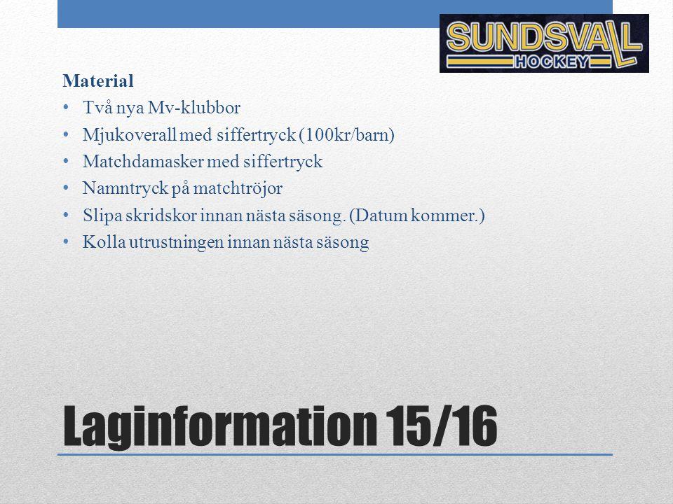 Laginformation 15/16 Material Två nya Mv-klubbor