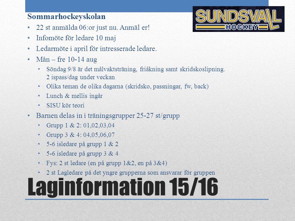 Laginformation 15/16 Sommarhockeyskolan