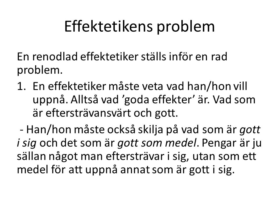 Effektetikens problem