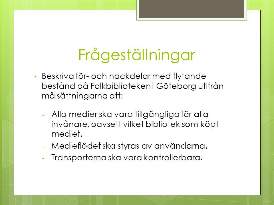 Frågeställningar Beskriva för- och nackdelar med flytande bestånd på Folkbiblioteken i Göteborg utifrån målsättningarna att: