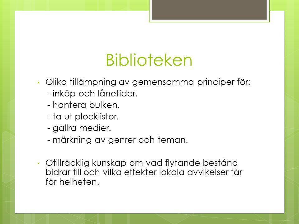 Biblioteken Olika tillämpning av gemensamma principer för: