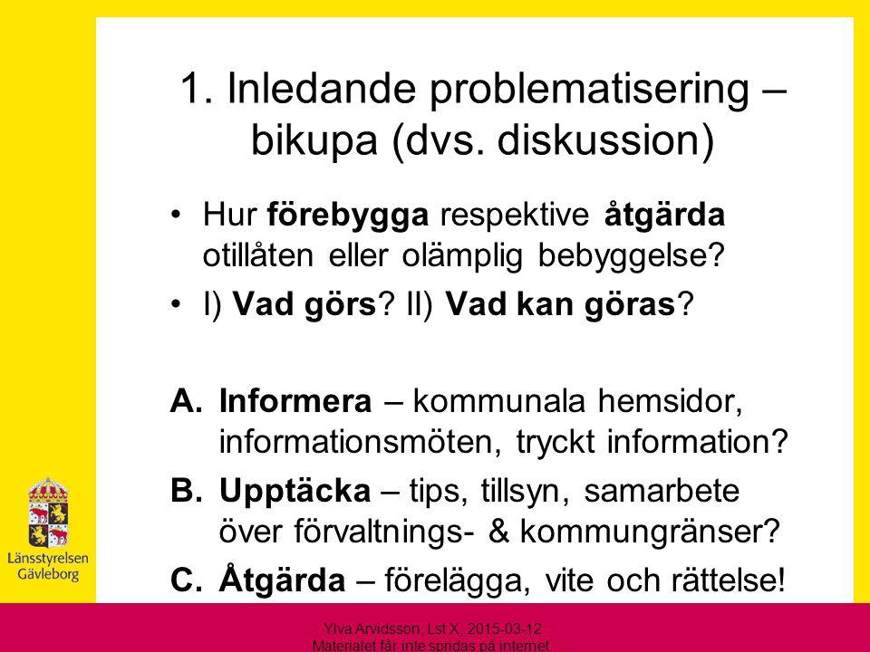 1. Inledande problematisering – bikupa (dvs. diskussion)