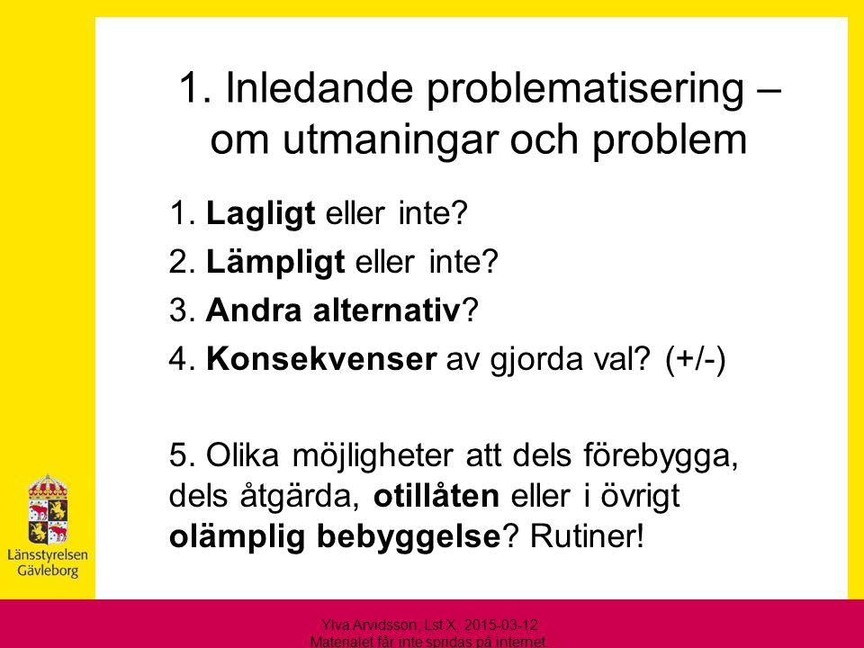 1. Inledande problematisering – om utmaningar och problem
