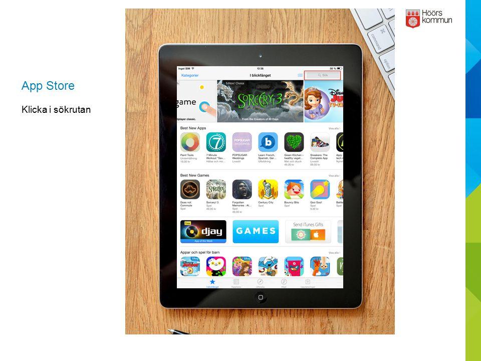 App Store Klicka i sökrutan