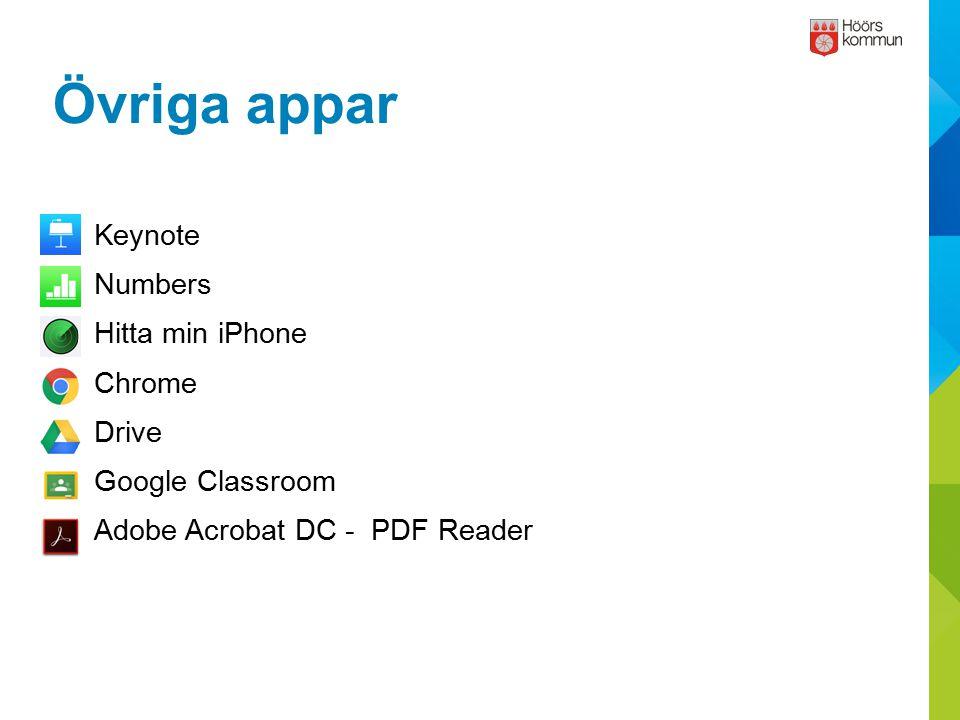 Övriga appar Keynote Numbers Hitta min iPhone Chrome Drive
