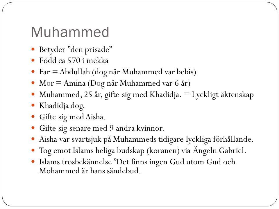 Muhammed Betyder den prisade Född ca 570 i mekka