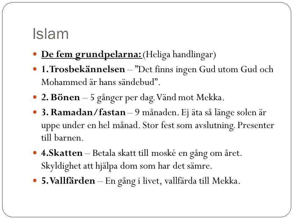 Islam De fem grundpelarna: (Heliga handlingar)