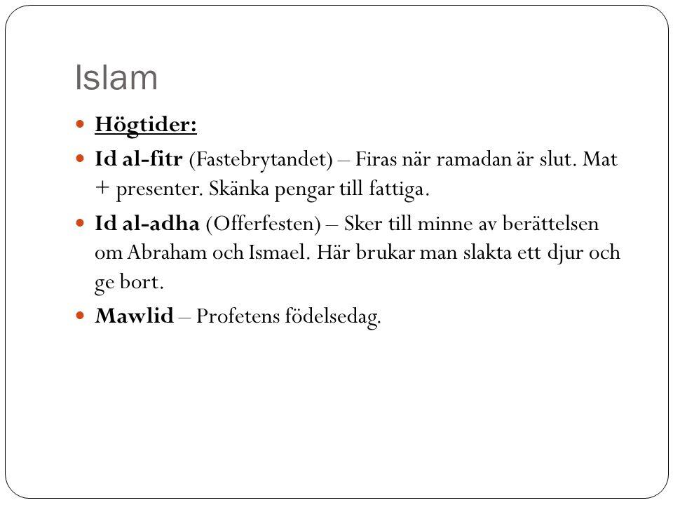 Islam Högtider: Id al-fitr (Fastebrytandet) – Firas när ramadan är slut. Mat + presenter. Skänka pengar till fattiga.