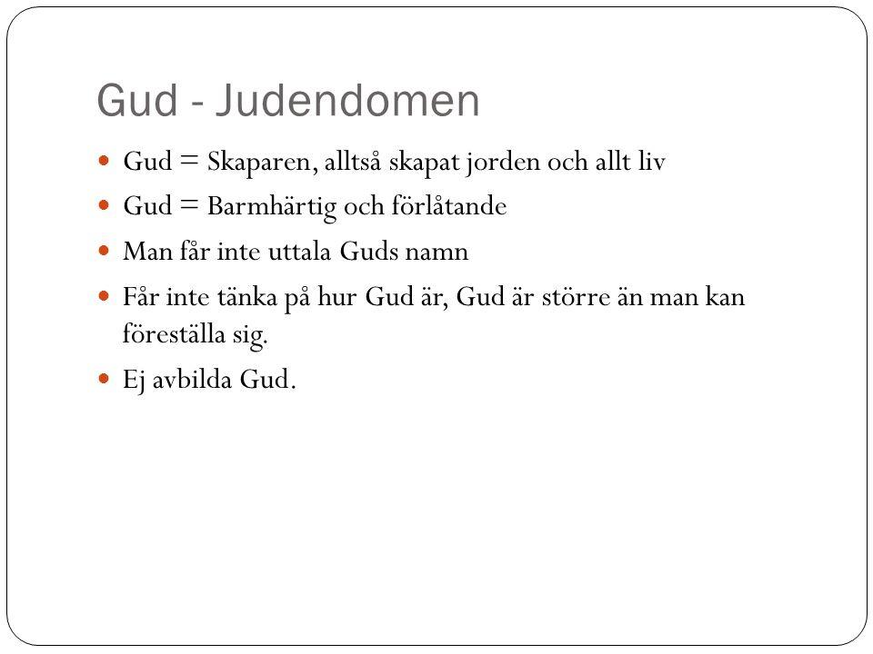 Gud - Judendomen Gud = Skaparen, alltså skapat jorden och allt liv