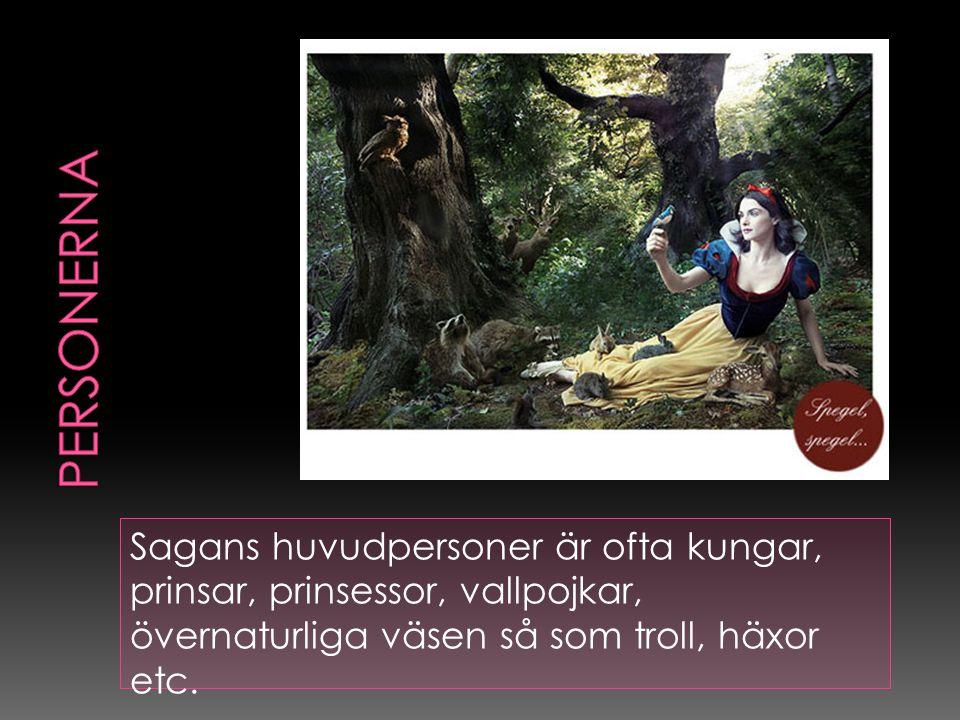 personerna Sagans huvudpersoner är ofta kungar, prinsar, prinsessor, vallpojkar, övernaturliga väsen så som troll, häxor etc.