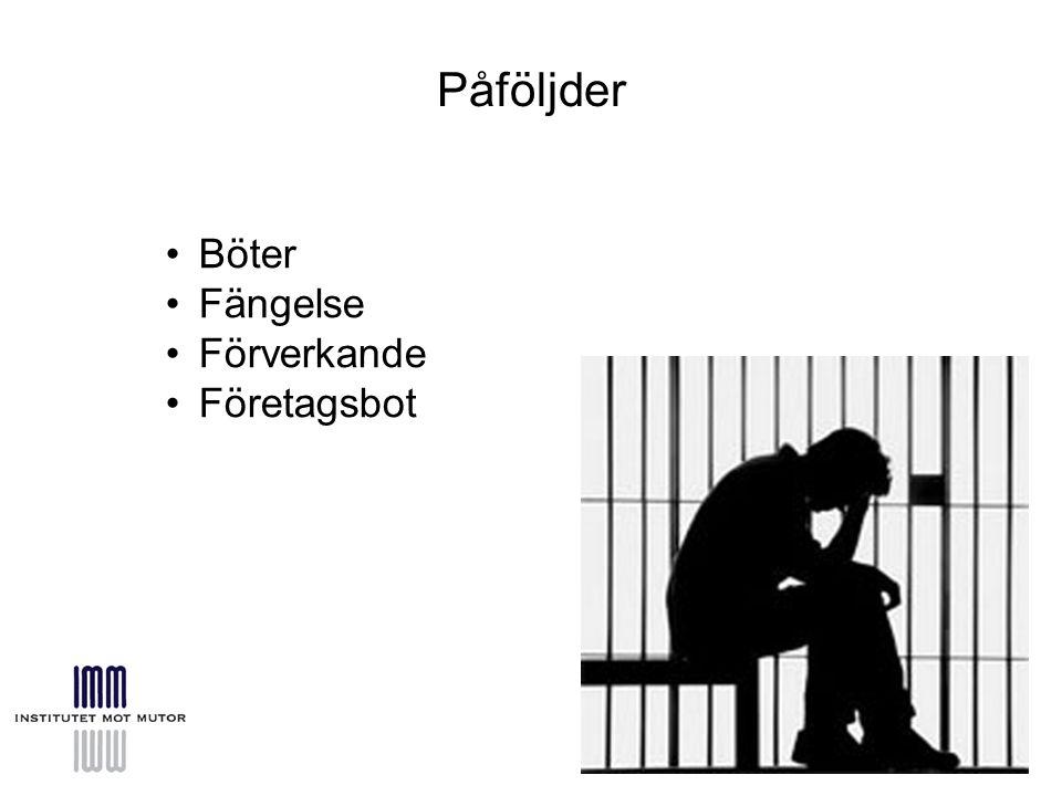 Påföljder Böter Fängelse Förverkande Företagsbot