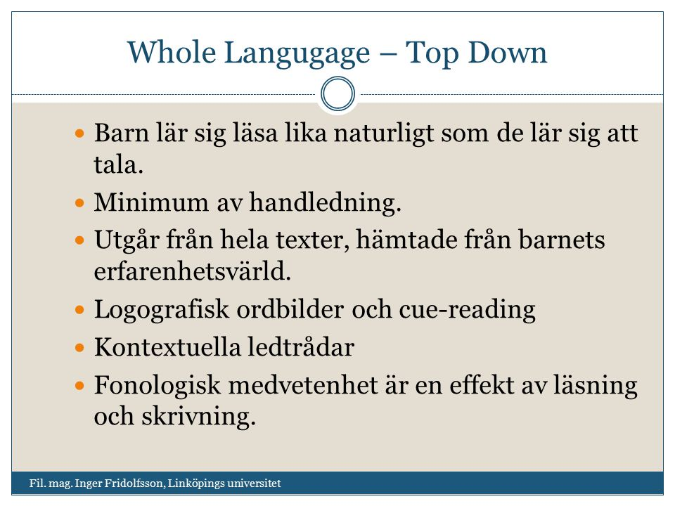 Whole Langugage – Top Down