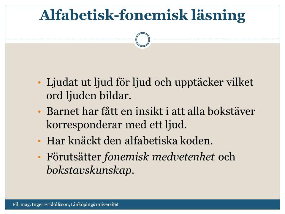 Alfabetisk-fonemisk läsning