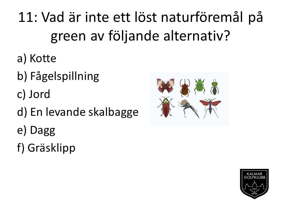 11: Vad är inte ett löst naturföremål på green av följande alternativ