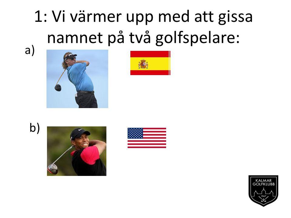 1: Vi värmer upp med att gissa namnet på två golfspelare:
