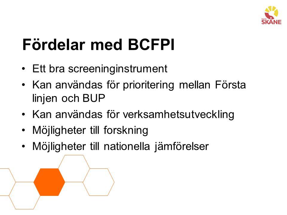 Fördelar med BCFPI Ett bra screeninginstrument