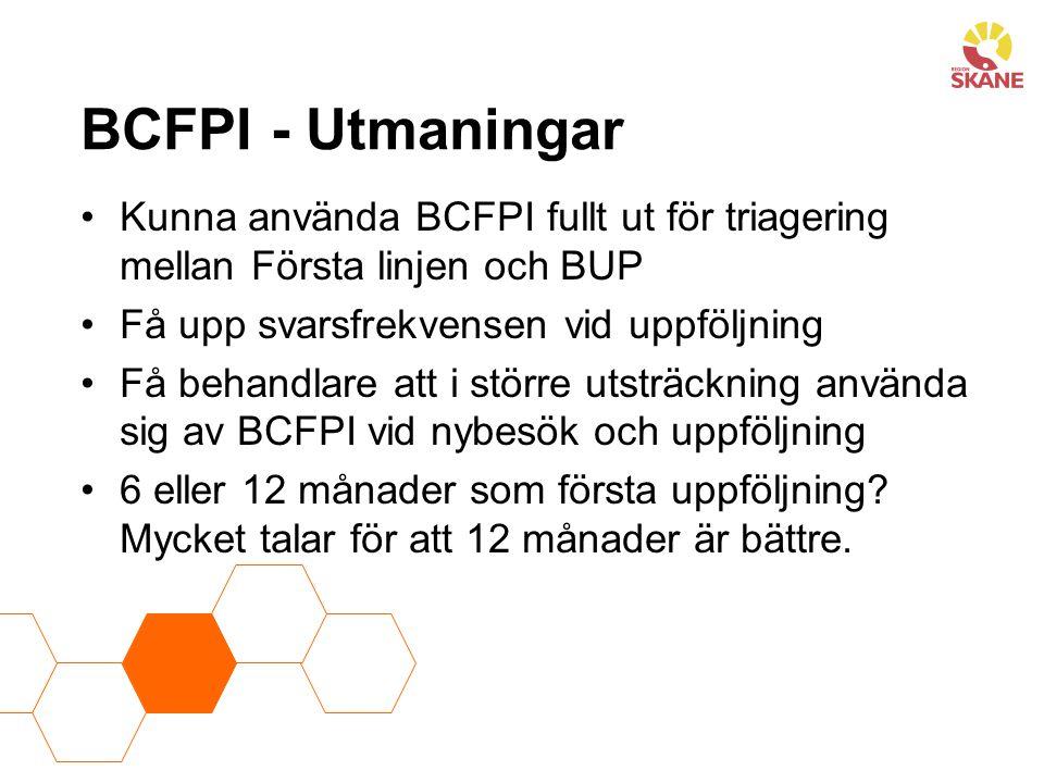 BCFPI - Utmaningar Kunna använda BCFPI fullt ut för triagering mellan Första linjen och BUP. Få upp svarsfrekvensen vid uppföljning.