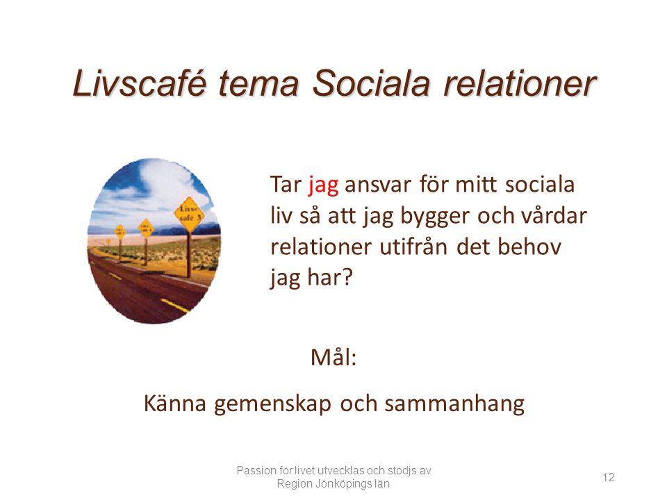 Livscafé tema Sociala relationer