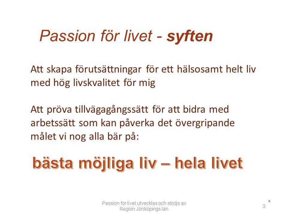 Passion för livet - syften