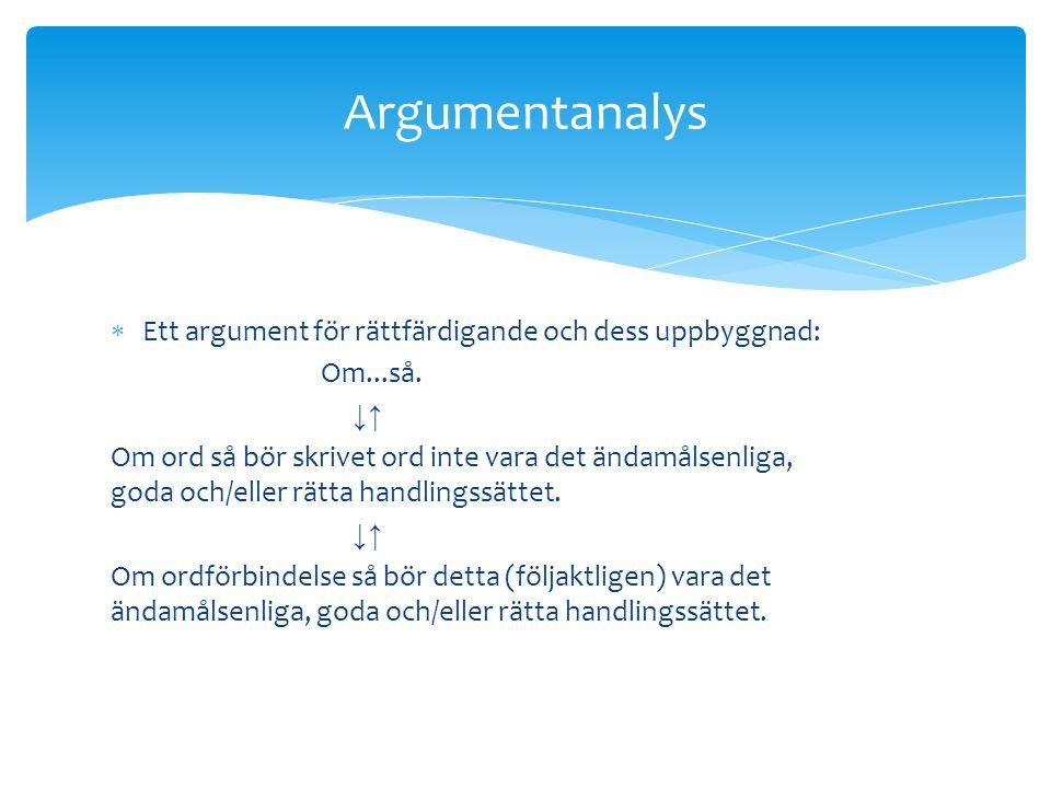 Argumentanalys Ett argument för rättfärdigande och dess uppbyggnad: