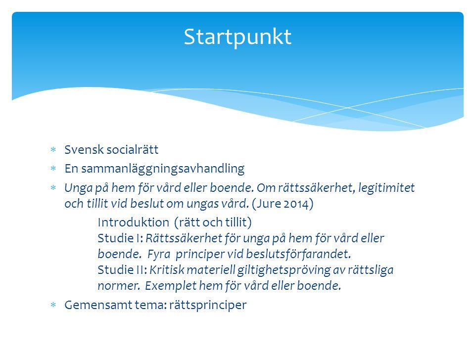 Startpunkt Svensk socialrätt En sammanläggningsavhandling